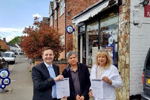 Alberto Costa MP with Nav Vara, postmaster of the Ullesthorpe Post Office and Cllr Rosita Page outside the Post Office in Ullesthorpe.