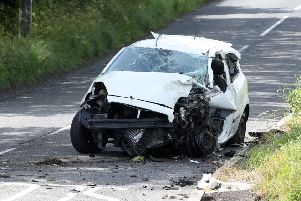 Four teenage girls have been taken to hospital following a single-vehicle crash in Bangor in the early hours of Sunday morning