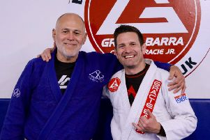 Mauricio Gomes (left) and Paul Bridges at Gracie Barra Hastings. Picture courtesy John Rose