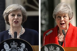 Theresa May: Left Her first public speech as Prime Minister, Right: Resigning as leader of the Conservative Party. Photo: Hannah McKay/Yui Mok/PA