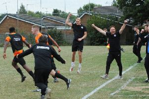 Boss Josh Dixon and his Lutterworth Town players will be hoping for more scenes of celebration as they bid to upset Hednesford Town in the FA Cup this weekend