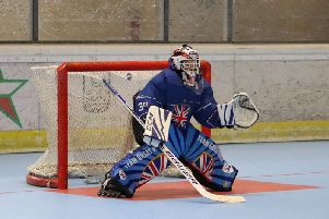 Vinnie Bennett Graziano playing roller hockey for Team Great Britain against Italy