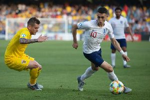 England's Phil Foden in action