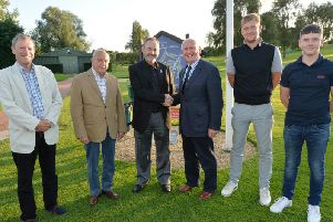 Bob Roberts Seniors Captain, Arthur Price-Jones President, Billy Foster guest speaker, Peter Smith Mens Captain, Kegan Jamieson Golf Professional and George Toseland Junior Captain. PICTURE: ANDREW CARPENTER