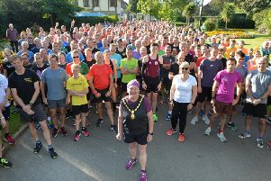 Participants of the Park Run with Cllr Barbara Johnson centre. PHOTO BY ANDREW CARPENTER