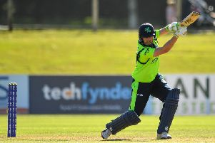 Andrew Balbirnie of Ireland plays a shot during the T20 International Tri Series match between Ireland and Scotland at Malahide Cricket Club