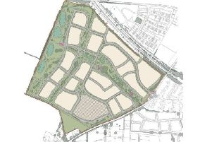 An indicative plan for the development with Warwick Road to the southeast of the site, and Wistow Road along the northern edge