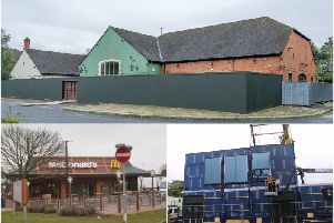 Campaigners are pushing for conditions to be put on McDonald's to help combat litter. 'Top shows the former Harvester premises in Warwick, bottom left shows a gv of McDonalds and bottom right shows the Emscote Road McDonald's being built (Photo by Geoff Ousbey).