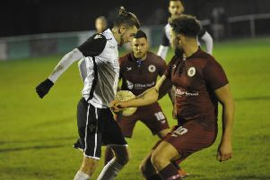 Action from the league fixture between Bexhill United and Alfold earlier this month. Picture by Simon Newstead