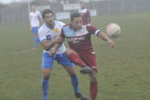 Little Common midfielder Wes Tate brings the ball under control during last weekend's 1-1 draw at home to Newhaven. Picture by Simon Newstead