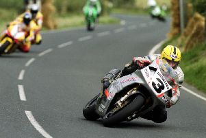 Joey Dunlop famously won the 1999 Superbike race at the Ulster Grand Prix on his ageing RC45 Honda against V&M Yamaha riders David Jefferies and Iain Duffus.