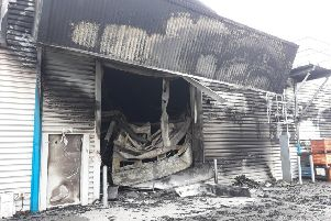 Drallim Industries factory, Drury Lane, St Leonards, was destroyed by fire. Photo courtesy of Councillor Phil Scott