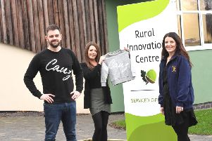 Rob Lyon (left) with Amy Rogers, from the Rural Innovation Centre, and (right) Sarah Spriggs, from Zos Place Baby Hospice. Photo submitted.