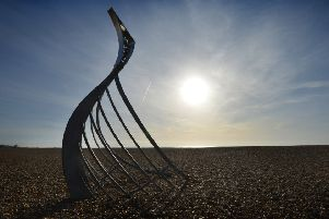 File photo: Norman long boat sculpture on Pebble Beach in Hastings to mark the 950th anniversary of the Battle of Hastings.The sculpture was created by Leigh Dyer. SUS-191202-110013001