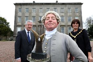 Pictured at the Palace Demesne, Armagh, are Tourism NI Chief Executive John McGrillen and Julie Flaherty, Lord Mayor of Armagh, Banbridge and Craigavon Council with Marcellus Kearney as The Butler.