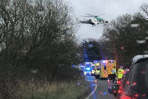 An air ambulance landed at the scene. Picture: Hannah Frost-Harrison