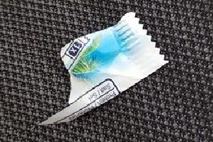 Tracy said the corner of the Bounty wrapper must have fallen out of her pocket in the wind. Picture contributed