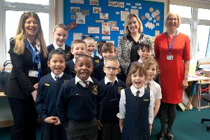 Amber Rudd visits St Mary Star of the Sea school after they received a good OFSTED rating. Photo by Frank Copper