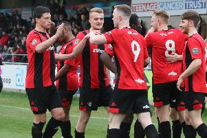 Lewes celebrate one of Ben Pope's goals