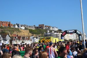 Emergency services at the finish line of the Hastings Half Marathon. Picture: Kevin Boorman