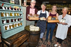 David Vaughan, Jackie Godley, Natalie Campbell-Crabb and Sue Medhurst with produce sold at the Red Lion
