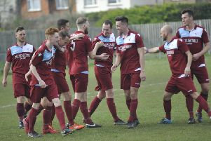 Little Common celebrate scoring in their 4-1 win at home Pagham. Picture by Simon Newstead
