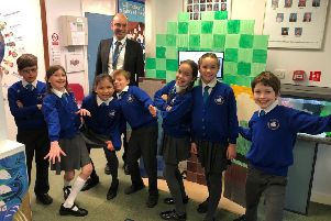 Pupils with their Minecraft tree