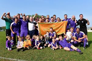 Daventry Town celebrate their Future Lions United Counties League title. Photo: Martin Pulley