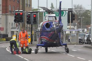 An air ambulance landed in Horse Market shortly after the man fell. Medics were sadly unable to save him.