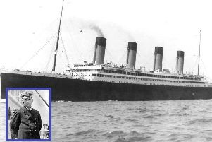 Titanics near identical sister ship Olympic, and inset, Rugby-born Captain Herbert Haddock, who sent her at full steam towards the Titanic.