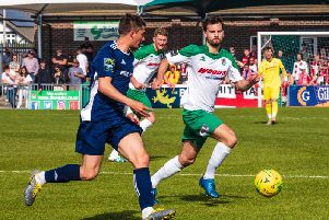Bognor in action against Whitehawk in their final home game / Picture by Tommy McMillan