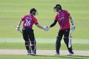 David Wiese is congratulated by skipper Ben Brown on his ton at the Ageas Bowl / Picture by www.yasps.co.uk