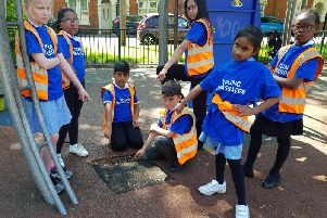 Young ambassadors from St James Primary School with the tarmac square.