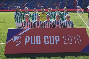 The Wheatsheaf Inn team on the pitch at Selhurst Park