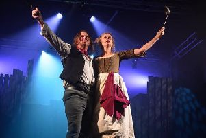 Steve Corke as Sweeney Todd and Kim Sutton as Mrs Lovett. Peter Mould Photography