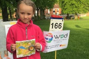 A thrilled six-year-old first timer at the World Orienteering Day event at Abbey Fields, Kenilworth. She can't wait to try another event!