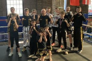 The Hastings Kickboxing Academy squad at the WKO Five Nations tournament