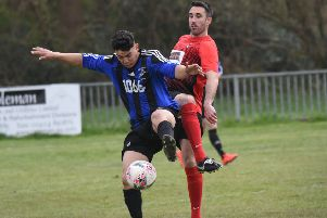 Hollington United in action against Cuckfield Rangers during April. Picture by Justin Lycett