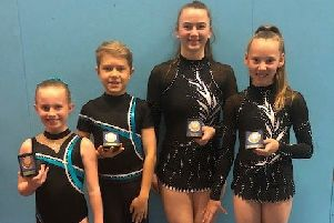 The Hollington Gymnastics Club members who won medals at the Inter Regional Sports Acrobatics Championships