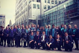 Year Nine students at Canary Wharf. Photo by Kneecap.