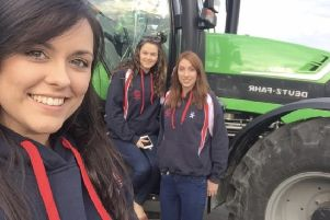 Lois Bingham, Rachael McMinn and Victoria McCabe pictured outside a Deutz Fahr from G.A Allen Machinery the sponsors for this years Treasure hunt and BBQ