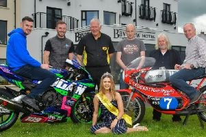 Pictured at the launch of the Bayview Hotel Armoy Road Races are (from left): Neil Kernohan and Paul Jordan; Bill Kennedy MBE, Clerk of the Course; Tommy Henry, Armoy Armada member Jim Dunlop and Ian Lougher, with Miss Armoy 2018, Lauren Trotter.