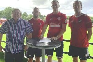 From left, Hemel Town chairman Dave Boggins, ambitious new manager Sammy Moore, new signing Mitchell Dickenson and assistant manager Jack Midson.