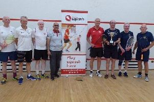 Right, the Hampshire over-65s team, from left, Paul Reader, Barry Featherstone, Iain Nicholson and  Dave Harris, with the runners-up from Surrey
