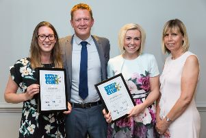 Jane Spiers & Fern Freeman of Ninfield CE School. Laura Renesto of The Baird Primary Academy presented by Ben Arnold of 3D Recruit.'Sussex Teacher of the Year 2019 at Jurys Inn, Waterfront, Brighton, Sussex.'Picture Submitted by: Martin Apps - Countrywide Photographic SUS-190807-105501001