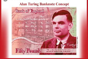 A Bank of England mock-up of the new �50 note featuring Alan Turing. Photograph: Bank of England.