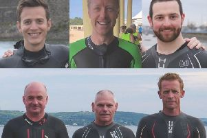 Councillor Pete Johnston, Mark Loughridge, Bobbie Philips, Anthony Bannon, Michael Nugent and David McConnell are taking the cross-lough challenge.