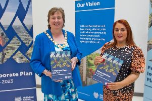 The Mayor of Mid and East Antrim, Cllr Maureen Morrow and Anne Donaghy, council chief executive.