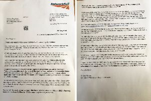The letter Network Rail sent to residents who live close to the railway line. SUS-190718-160326001