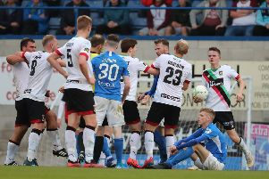 Glentoran and Glenavon players clash after Rhys Marshall's tackle on Glentoran's Joe Crowe during this evening's game at Mourneview Park, Lurgan.  Photo by David Maginnis/Pacemaker Press